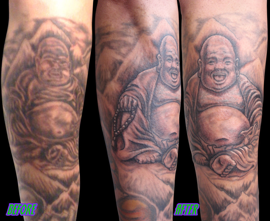Josh Steely of Daughtry Buddha fix up tattoo.